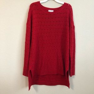 Ava & Viv Sweater Red High Low Long Sleeve Cozy